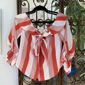 Sweet Wanderer red, white tan top